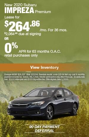 May New 2020 Subaru Impreza Premium Offers
