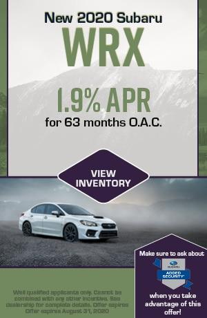 August New 2020 Subaru WRX Finance Offer