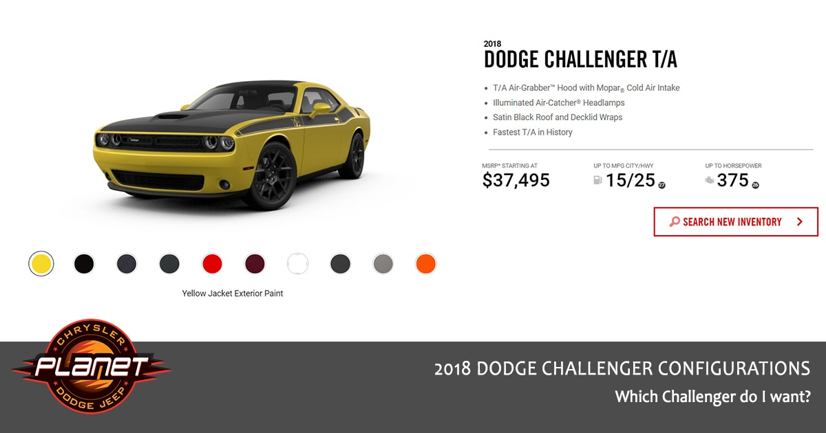 2018 Dodge Challenger Configurations - T/A