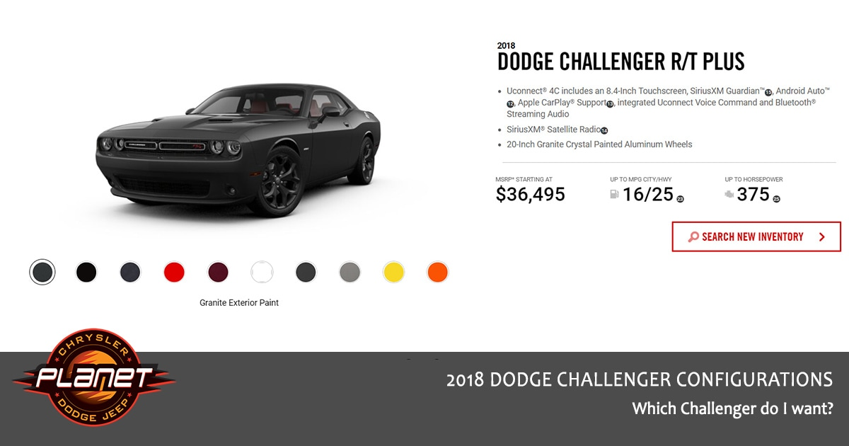 2018 Dodge Challenger Configurations - R/T Plus