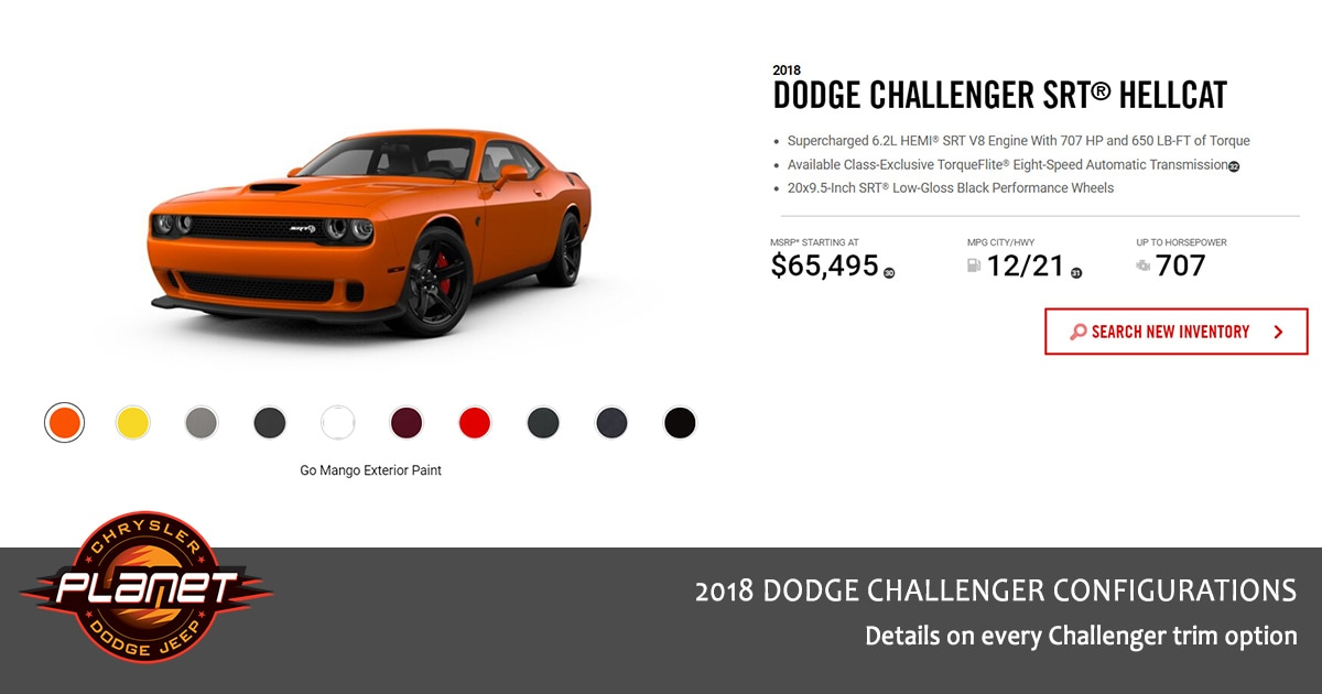 2018 Dodge Challenger Configurations - Hellcat