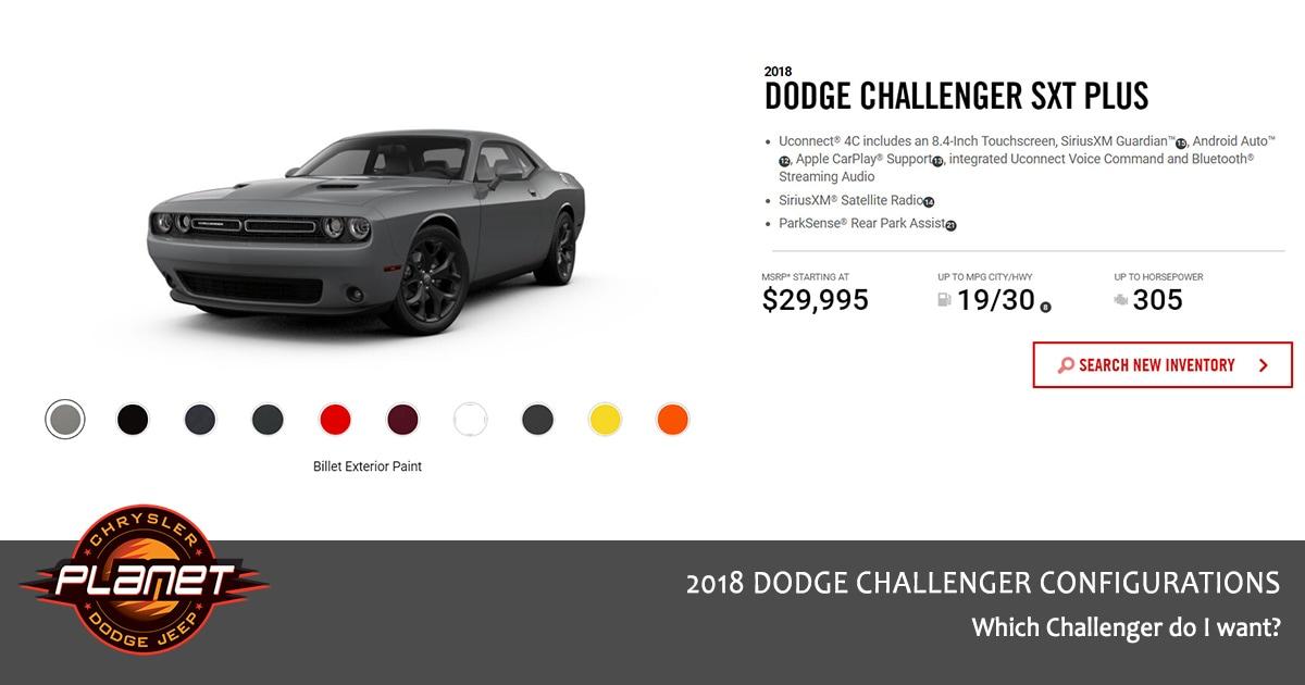 2018 Dodge Challenger Configurations - SXT Plus