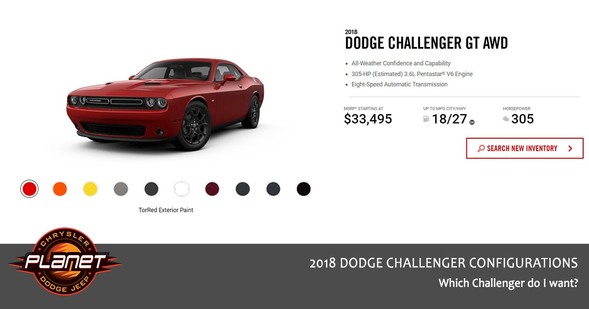 2018 Dodge Challenger Configurations - GT AWD
