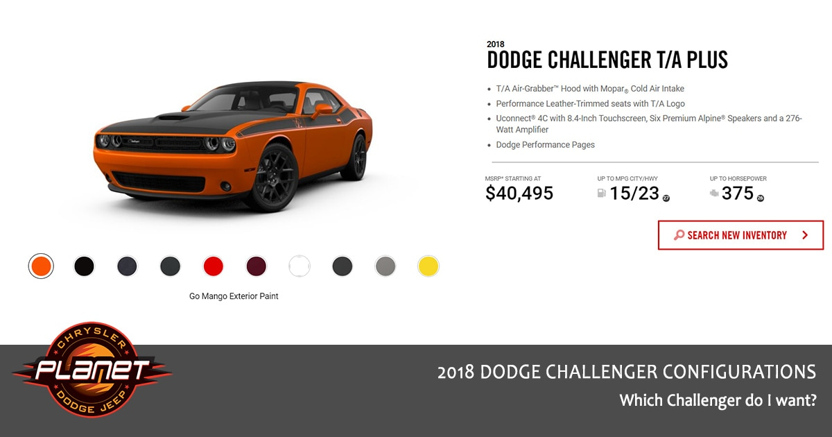2018 Dodge Challenger Configurations - T/A Plus