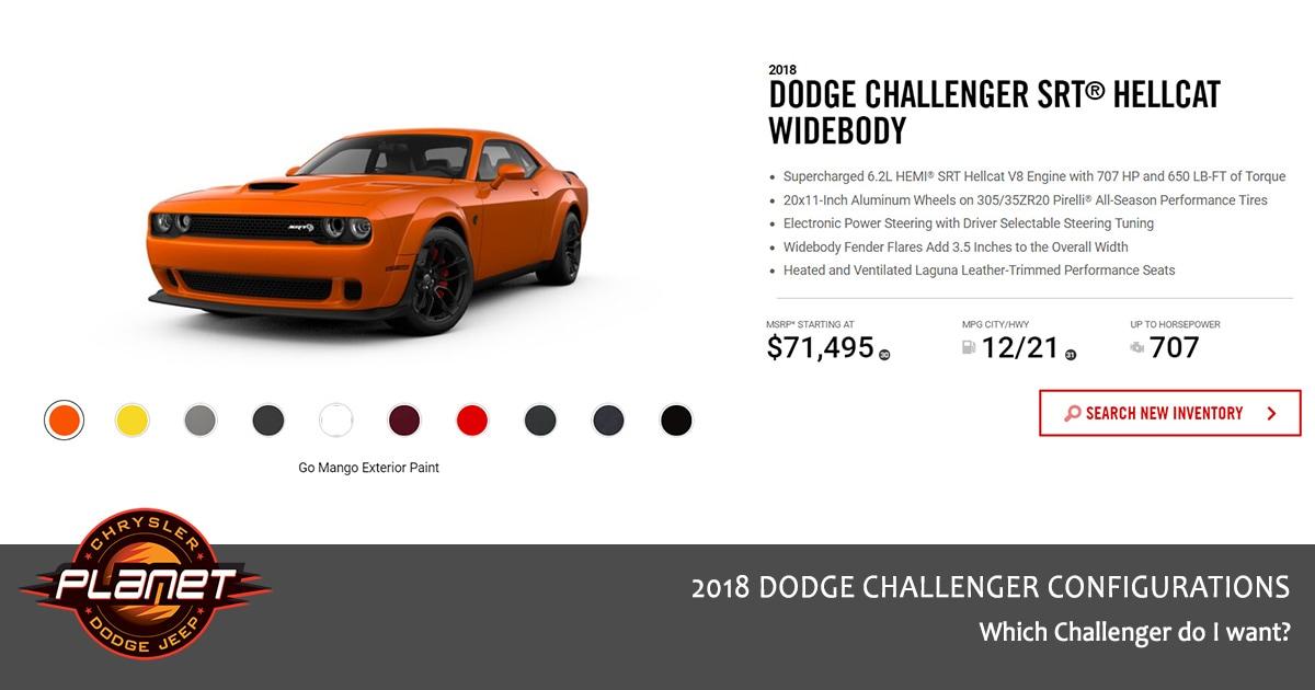 2018 Dodge Challenger Configurations - Hellcat Widebody