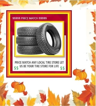 PRICE MATCH ANY LOCAL TIRE STORE
