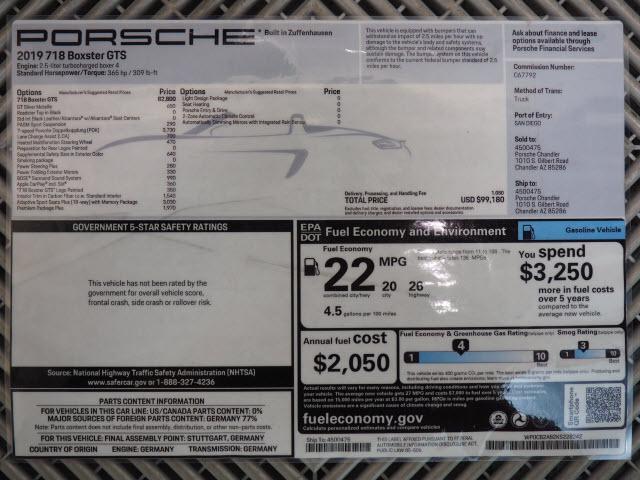 2019 Porsche 718 Boxster For Sale