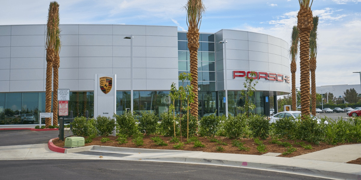 Exterior view of Porsche Irvine from the street