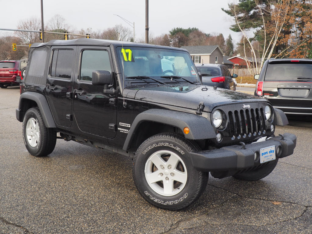 Featured pre-owned vehicles 2017 Jeep Wrangler JK Unlimited Sport 4x4 SUV for sale near you in Portsmouth, NH