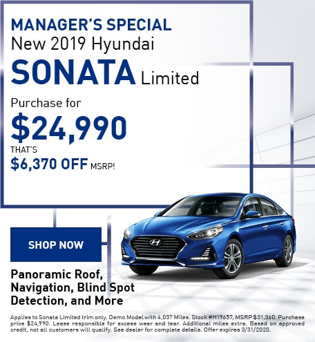 MANAGER'S SPECIAL New 2019 Hyundai Sonata Limited - March