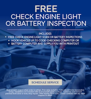 Check Engine Light or Battery Inspection - October
