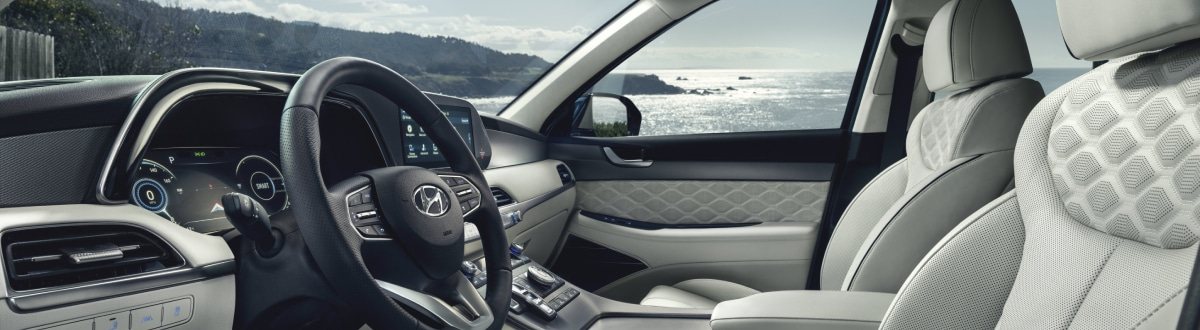 New Hyundai Palisade interior with ocean in the background