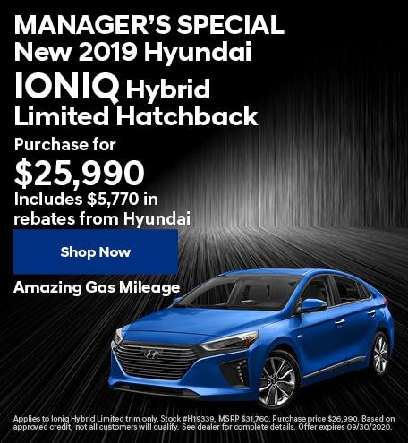 MANAGER'S SPECIAL New 2019 Hyundai Ioniq Hybrid - Sept