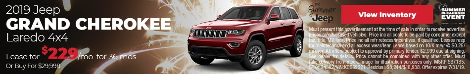 July 2019 Jeep Grand Cherokee Lease Offer
