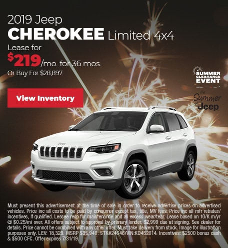 July 2019 Jeep Cherokee Lease Offer