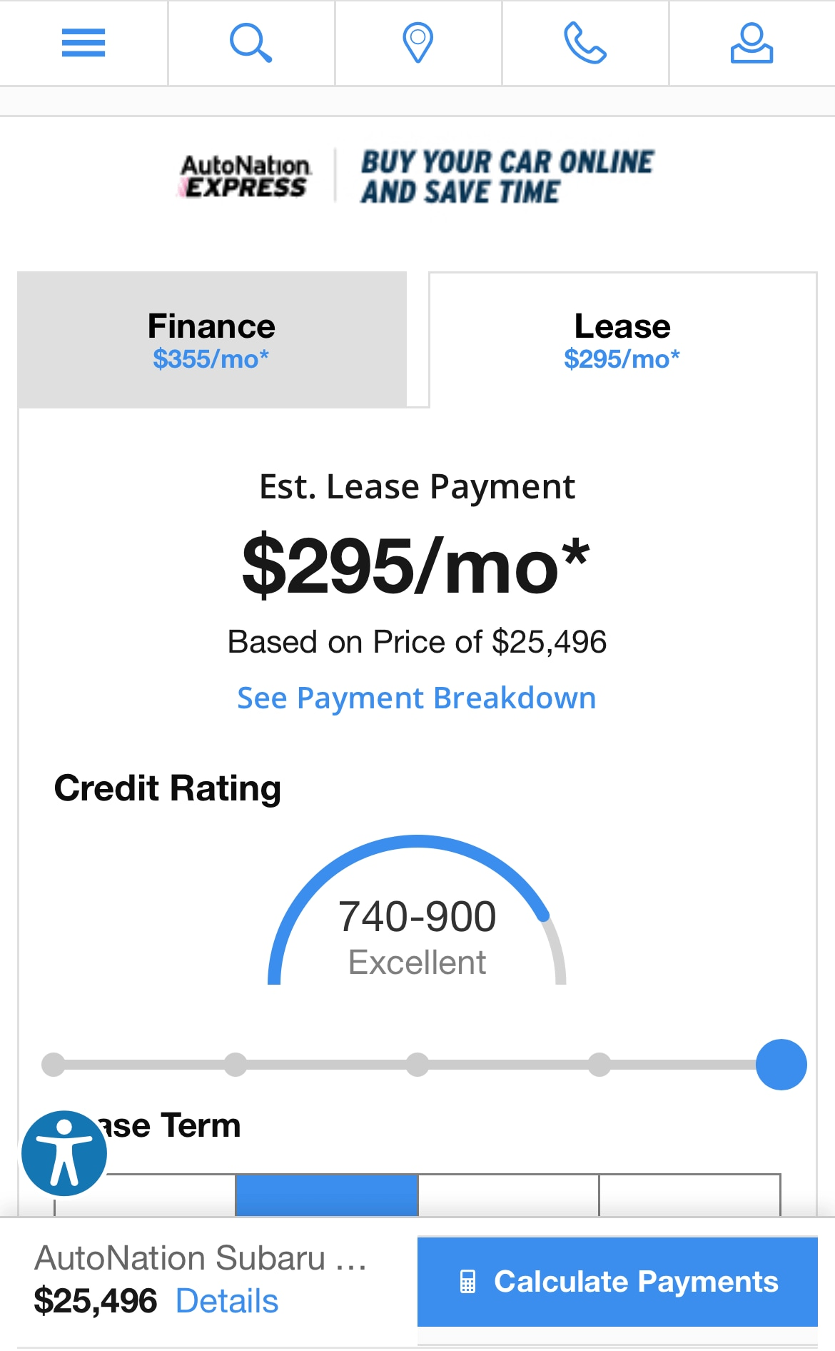AutoNation Express payment calculator on a mobile device