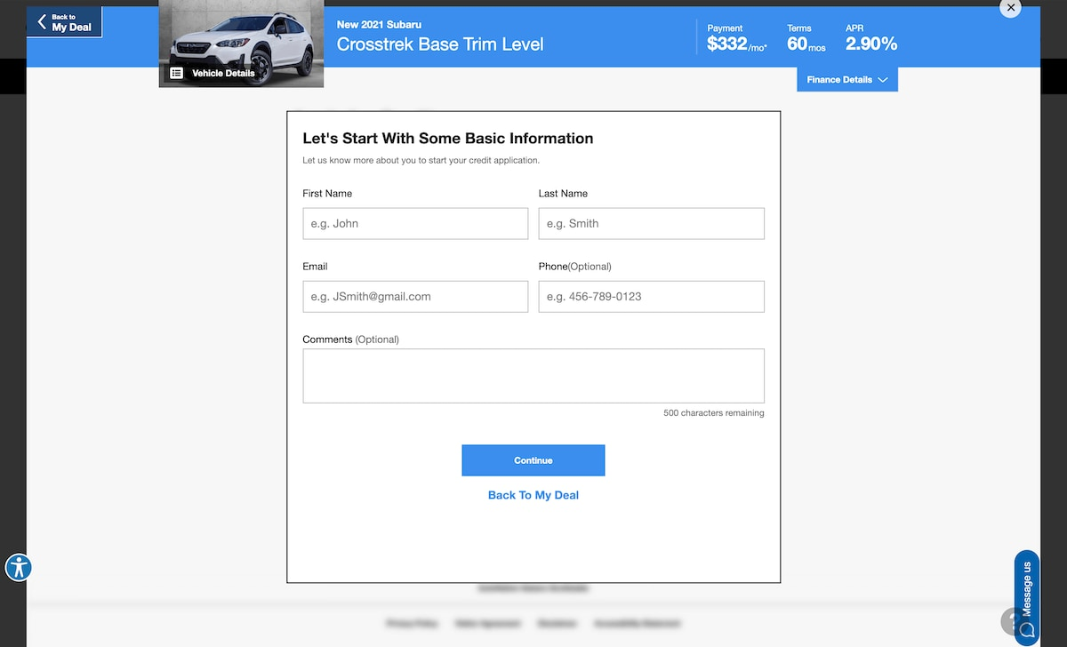 AutoNation Express apply for financing screen on desktop