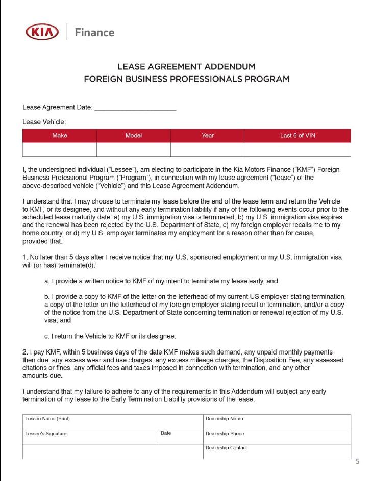 Foreign Business Professionals Program Addendum Premier Kia