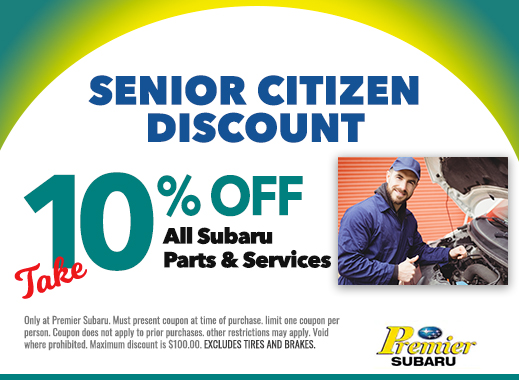 senior citizen discount 10% off all subaru parts and services