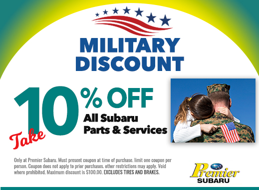 military discount 10% off all subaru parts and services