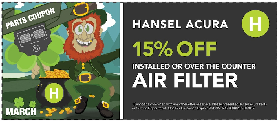 15% Off Installed or Over the Counter Air Filter