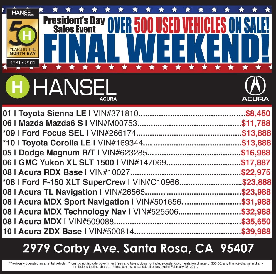 Hansel Acura | New Acura dealership in Santa Rosa, CA 95407 on gmc sales event, dodge sales event, subaru sales event, mitsubishi sales event, infiniti sales event, jaguar sales event, honda sales event,
