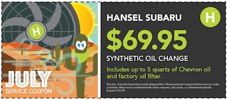 $69.95 Synthetic Oil Change