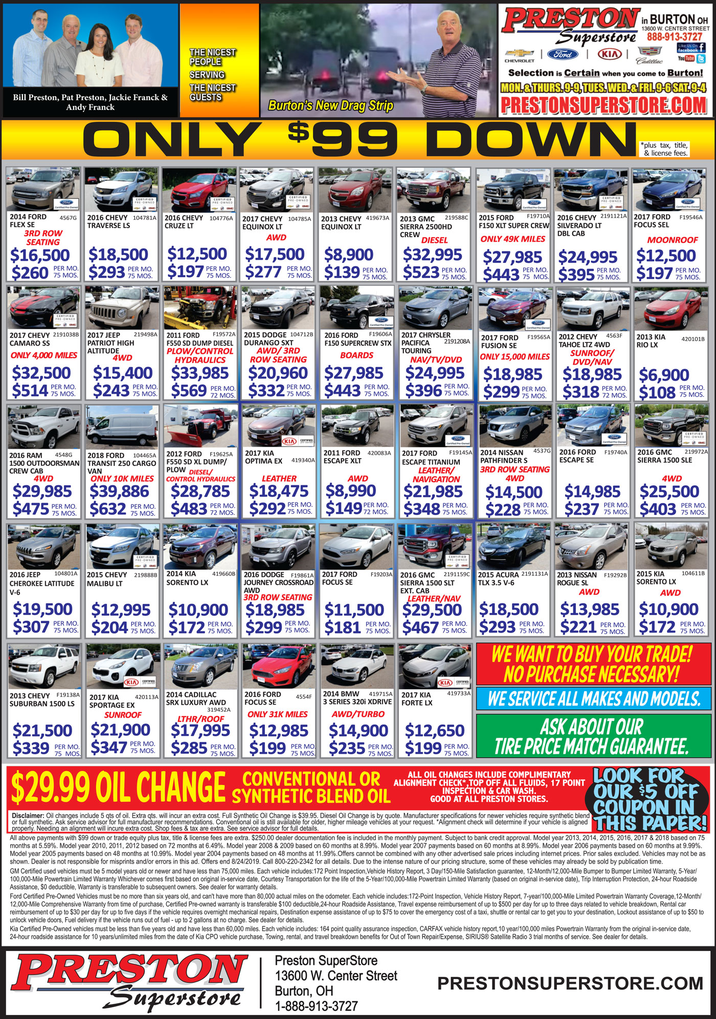 Weekly ad full of used car deals and new car specials in Burton Ohio near Chardon in Cleveland Ohio