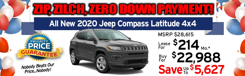 2020 Jeep Compass Latitude 4x4 Lease Special