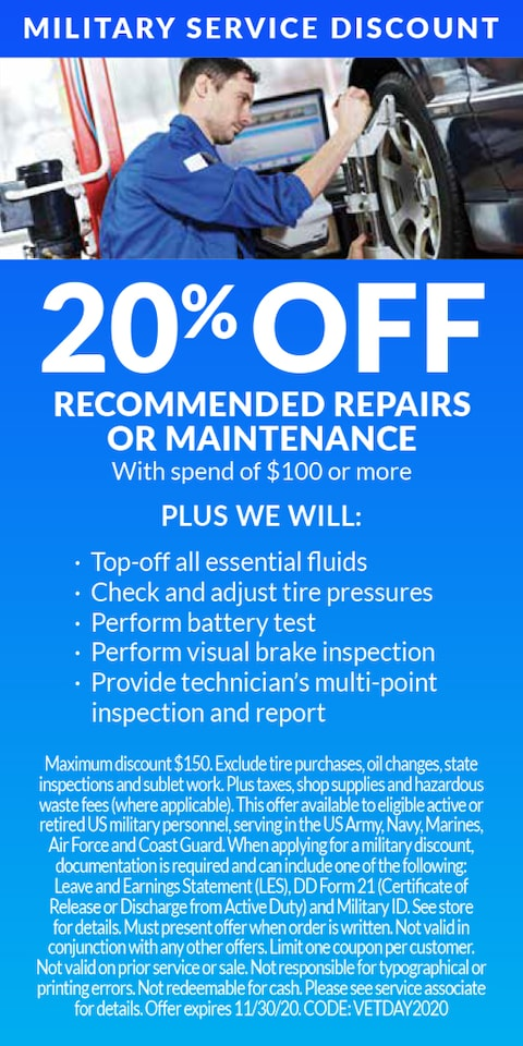 20% Off Recommended Repairs or Maintenance