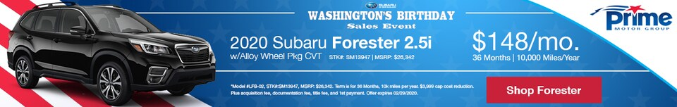 Subaru Washington's Birthday Forester Special Offer