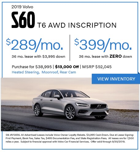 2019 S60 T6 AWD Inscription - Lease for $289/mo