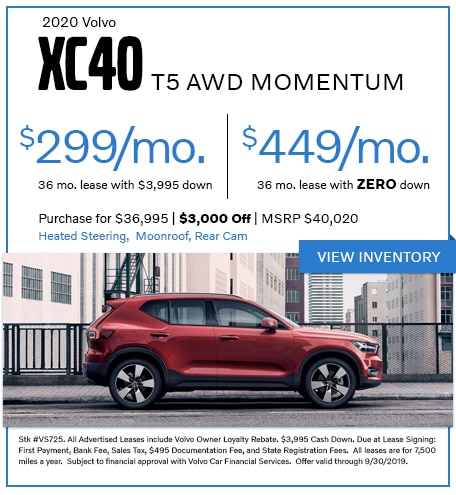 2020 XC40 T5 AWD Momentum - Lease for $299/mo