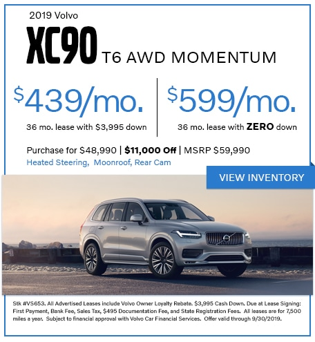 2019 XC90 T6 AWD Momentum - Lease for $439/mo