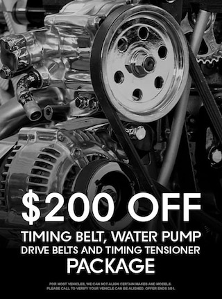 $200 Off Timing Belt, Water Pump, Drive Belts, and Timing Tensioner Package