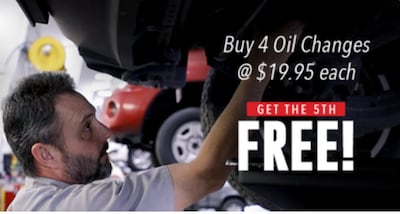 Buy 4 Oil Changes & Get 5th FREE