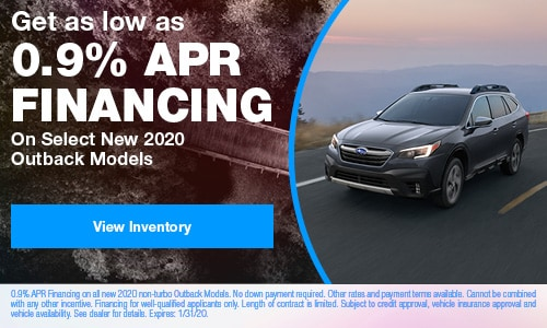 Get as low as 0.9% APR Financing On Select New 2020 Outback Models