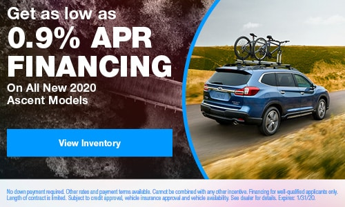 Get as low as 0.9% APR Financing On All New 2020 Ascent Models