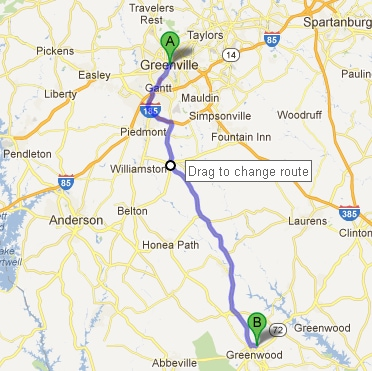 Greenwood sc to greenville sc