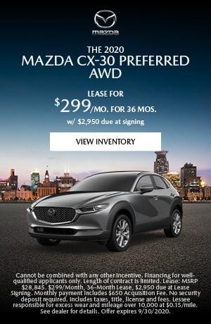 September 2020 Mazda CX-30 Preferred AWD Lease Offer