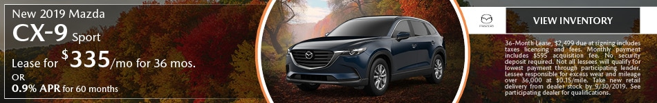 September New 2019 Mazda CX-9 Sport Offers
