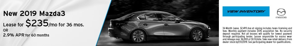 July 2019 Mazda3 Lease Offer