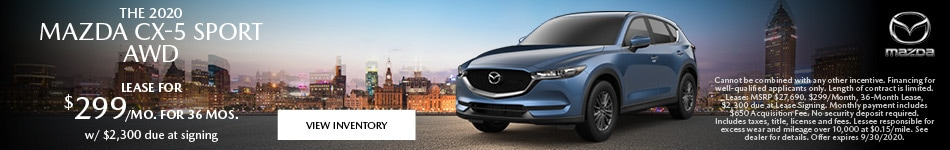September 2020 Mazda CX-5 Sport AWD Lease Offer