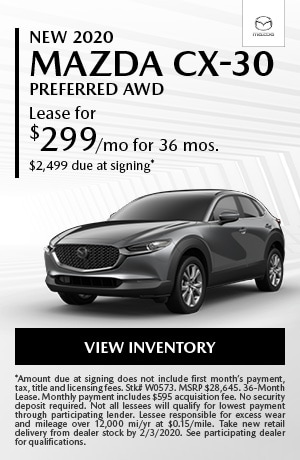January New 2020 Mazda CX-30 Preferred AWD Lease Offer