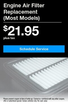 Engine Air Filter Replacement $21.95