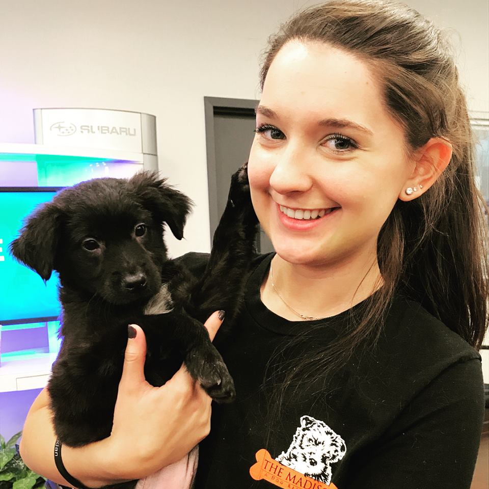 Girl with Black Puppy