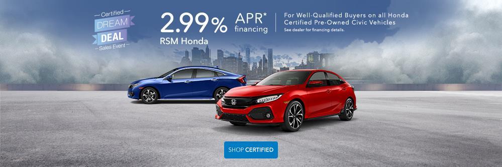 Honda Certified Pre Owned Financing >> Certified Dream Deal Sales Event At Rancho Santa Margarita