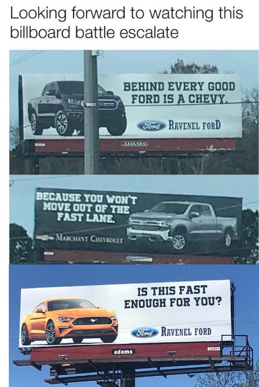 Center Bold Billboard War In Ravenel Ravenel Ford Inc