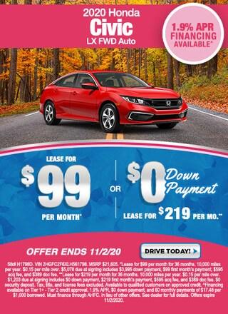 New Special - 2020 Honda Civic LX