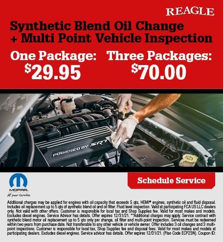 Synthetic Blend Oil Change + Multi Point Vehicle Inspection